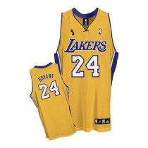 Kobe Bryant Los Angeles Lakers Authentic Home Champions Patch Nba Adidas Jersey Gold