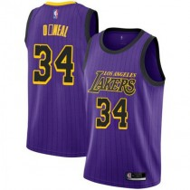 Youth Shaquille Oneal Los Angeles Lakers Nike Swingman Purple 2018 #19 City Edition Jersey